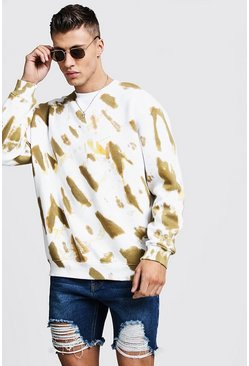 Oversized-Sweatshirt in Batik-Optik, Khaki, Herren