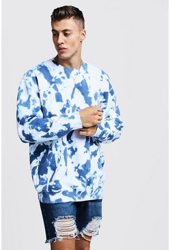 Oversized-Sweatshirt aus Fleece in Batik-Optik, Marineblau, Herren