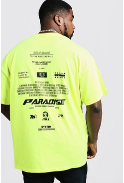 Mens Neon-yellow Big & Tall Neon Front & Back Print T-Shirt