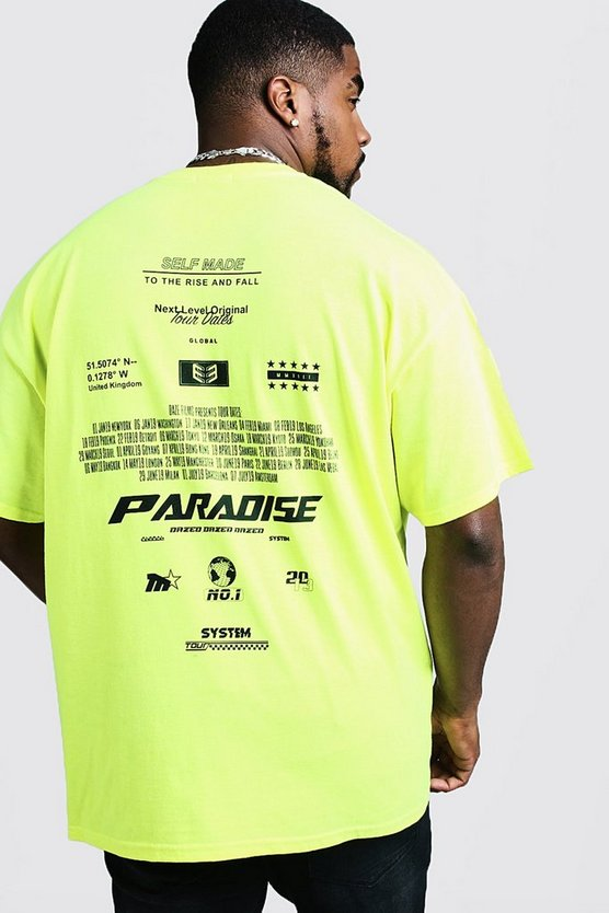 Big & Tall Neon Front & Back Print T Shirt by Boohoo