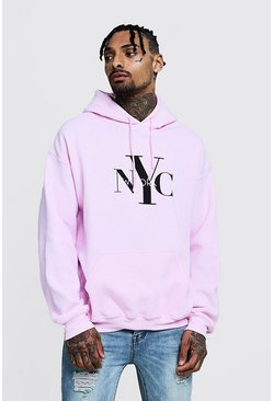 Mens Pale pink NYC Slogan Print Oversized Hoodie