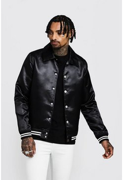 Satin Collared Bomber Jacket, Black, HOMMES