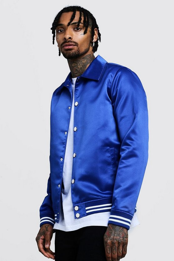 Mens Cobalt Satin Collared Bomber Jacket