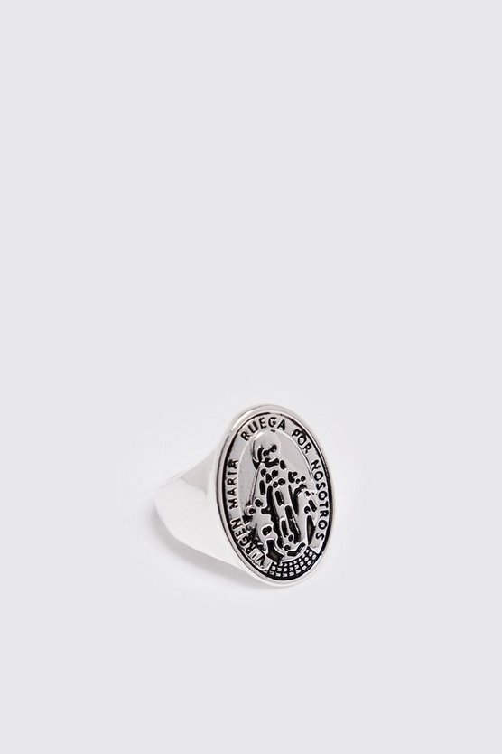 Mens Silver Engraved Signet Ring