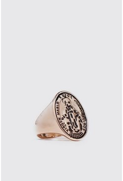 Engraved Signet Ring, Gold, HERREN