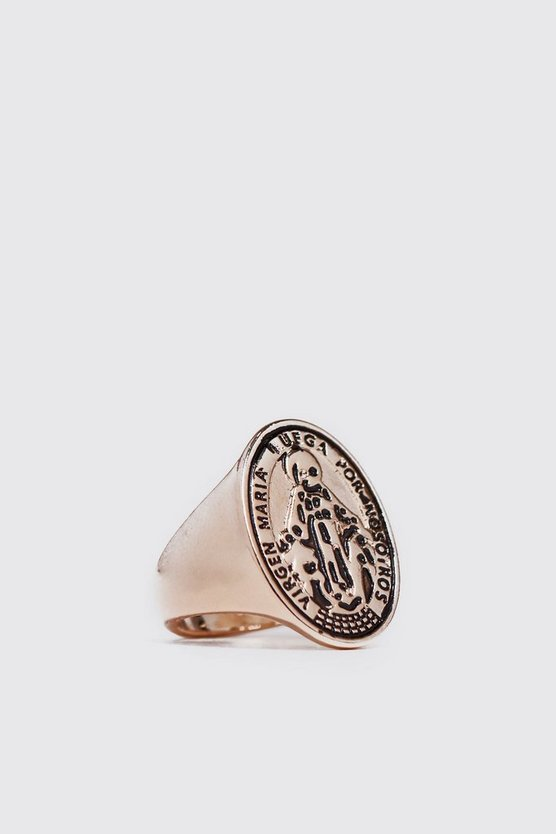 Mens Gold Engraved Signet Ring