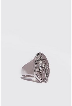 Mens Silver Snake Oval Signet Ring