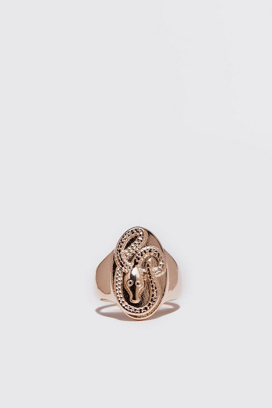 Shake Oval Signet Ring, Gold, HERREN