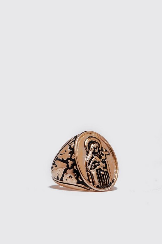 Mens Gold Oval Figure Embossed Signet Ring