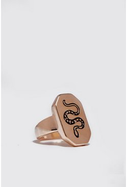 Emboss Hexagon Signet Ring, Gold, HERREN