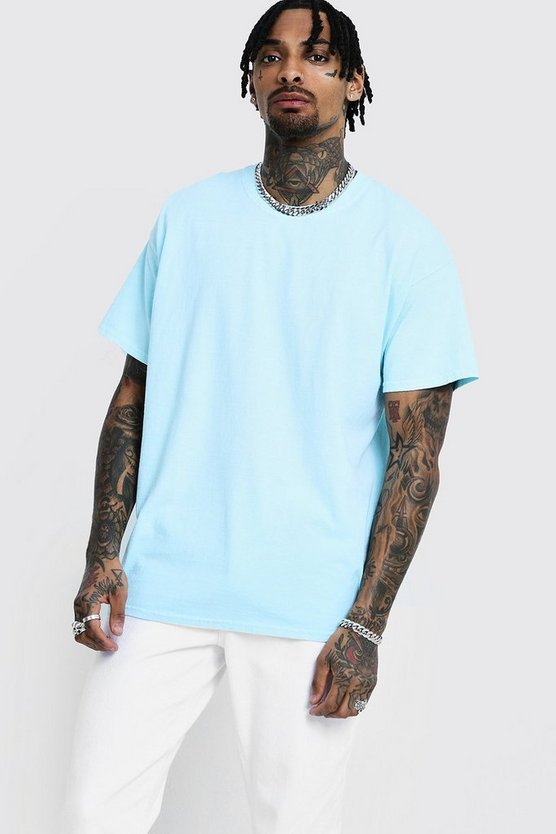 Mens Aqua Loose Fit Overdyed T-Shirt