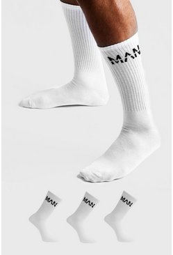 MAN Dash 3 Pack Sports Socks, White, HOMMES