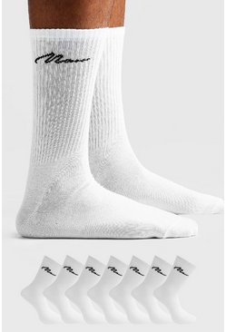 Mens White MAN Signature 7 Pack Sport Socks