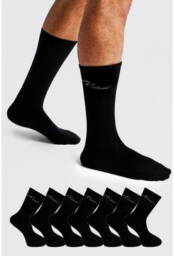 MAN Signature 7 Pack Sport Socks, Black, HOMMES
