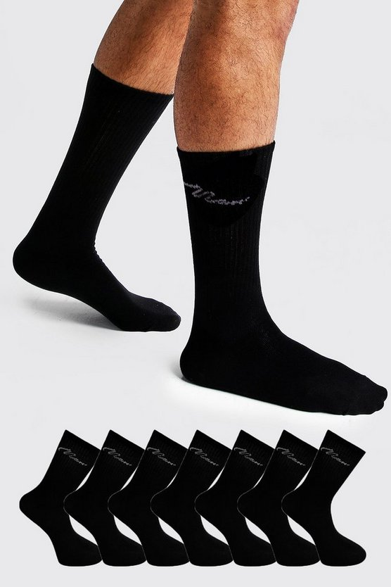 Mens Black MAN Signature 7 Pack Sport Socks