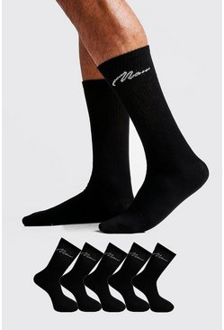 Mens Black MAN Signature 5 Pack Sport Socks