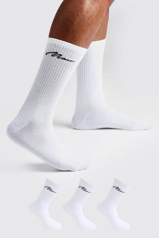 MAN Signature 3 Pack Sport Socks, White, Uomo