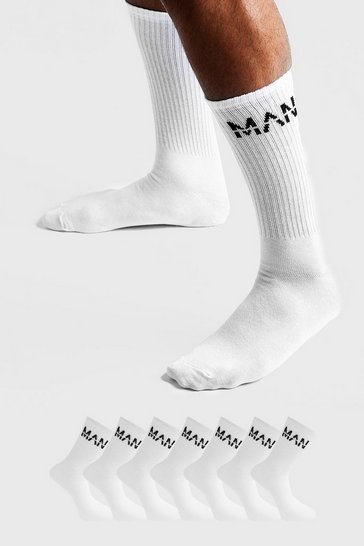 Mens White MAN Dash 7 Pack Sport Socks
