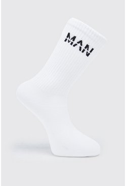 Mens White MAN Dash 7 Pack Trainer Socks