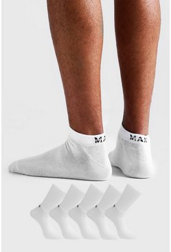 MAN Dash 5 Pack Trainers Socks, White, Uomo