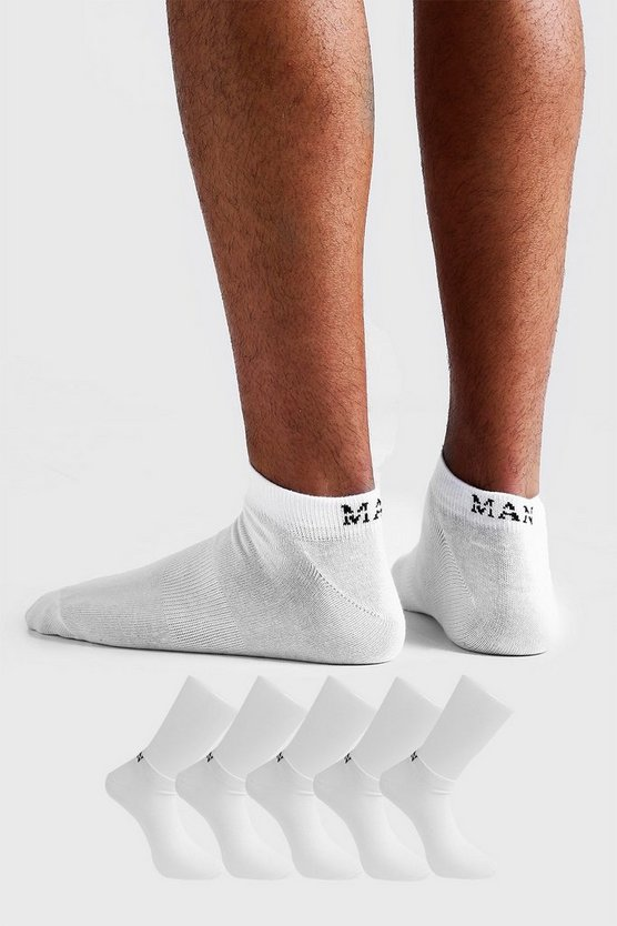 Mens White MAN Dash 5 Pack Trainers Socks