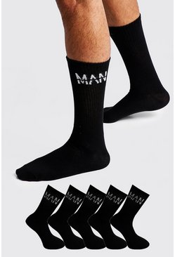 Mens Black MAN Dash 5 Pack Sport Socks