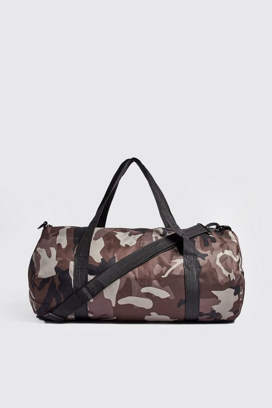 Camo Barrel Bag, Brown, HERREN