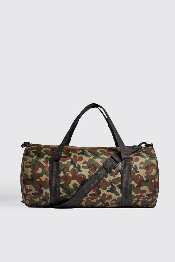 Mens Green Camo Barrel Bag