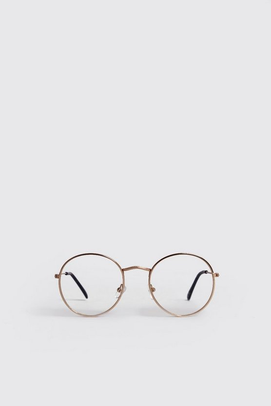Mens Gold Clear Lens Round Fashion Glasses