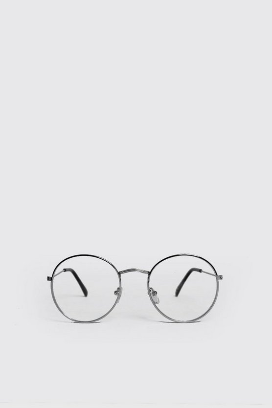 Clear Lens Round Fashion Glasses, Silver, МУЖСКОЕ