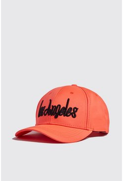Mens Neon-orange Neon LA Embroidered Cap