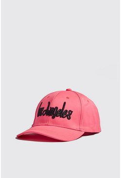 Mens Neon-pink Neon LA Embroidered Cap