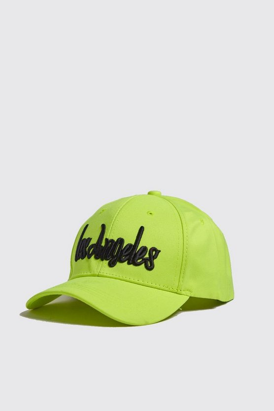 Mens Neon-yellow Neon LA Embroidered Cap