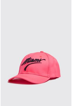 Mens Neon-pink Neon Miami Embroidered Cap