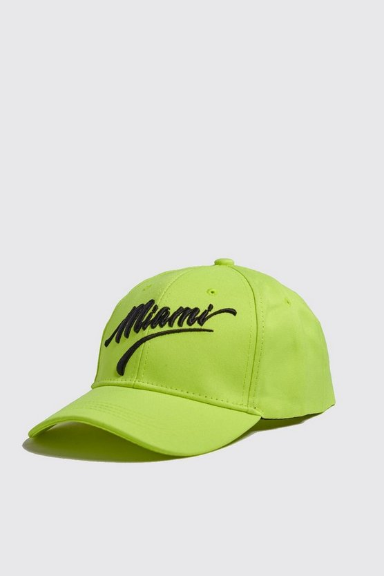 Mens Yellow Neon Miami Embroidered Cap