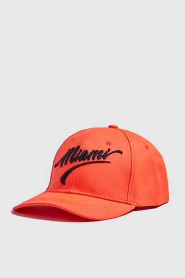 Mens Neon-orange Neon Miami Embroidered Cap