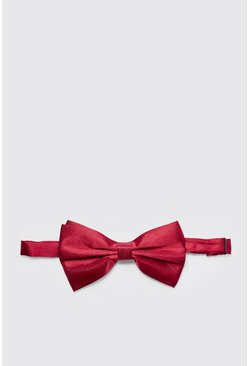 Mens Burgundy Satin Look Bow Tie