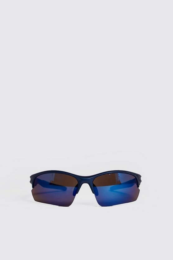 Visor Mirror Lens Sunglasses, Blue, Uomo