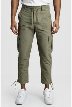 Mens Khaki Cropped Cargo Trousers With Utility Pocket