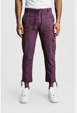 Cropped Cargo Trousers With Utility Pocket, Purple, HOMBRE