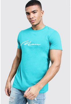 3D Embroidery MAN Signature T-Shirt, Jade, HERREN