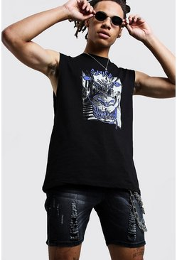 Mens Black Neon Printed Drop Armhole Tank