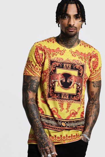 Mens Orange Baroque Design T-Shirt