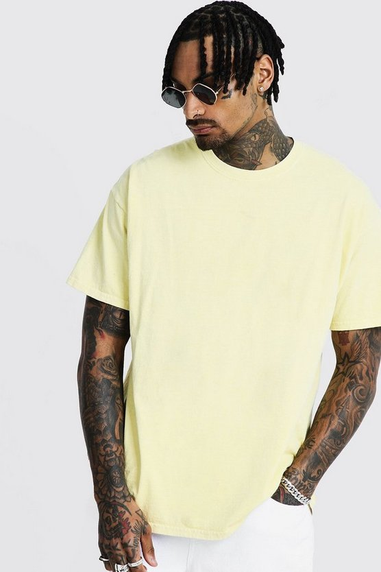 Loose Fit Overdyed T-Shirt, Yellow, HERREN