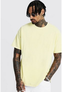 Mens Yellow Loose Fit Overdyed T-Shirt