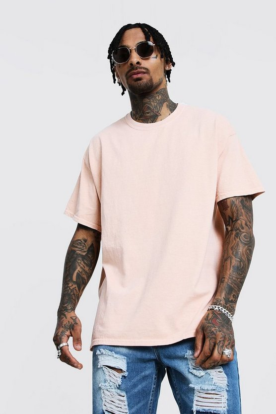 Mens Peach Loose Fit Overdyed T-Shirt