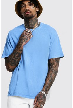 Loose Fit Overdyed T-Shirt, Blue, HOMBRE