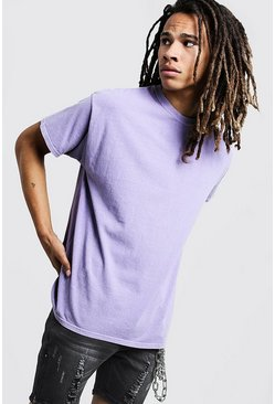 Mens Purple Loose Fit Overdyed T-Shirt