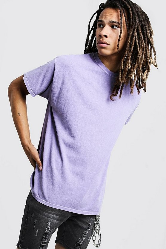 Loose Fit Overdyed T-Shirt, Purple, МУЖСКОЕ