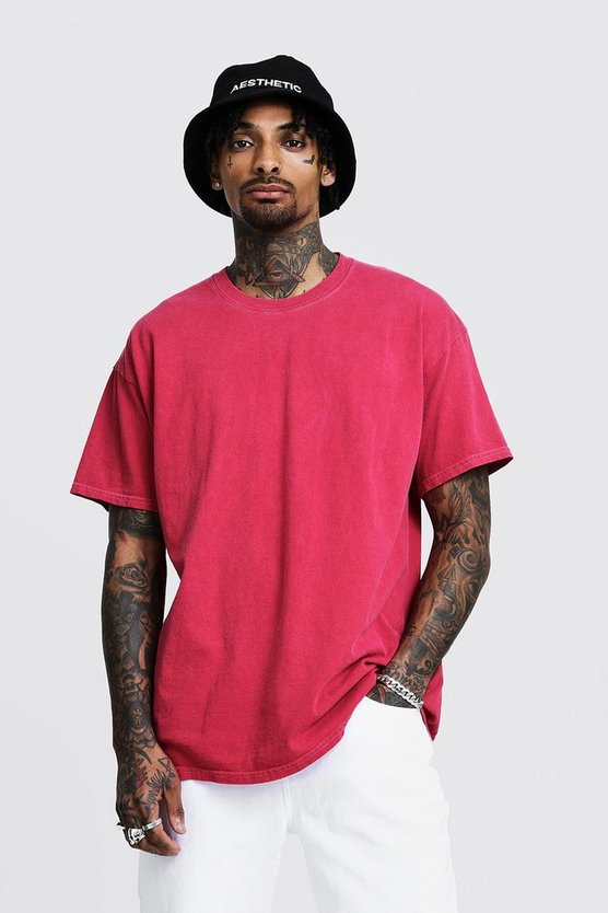 Mens Red Loose Fit Overdyed T-Shirt